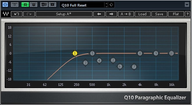 High-pass filter on a vocal track.
