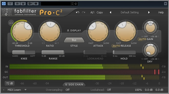 review pro c 2 compressor plugin by fabfilter. Black Bedroom Furniture Sets. Home Design Ideas