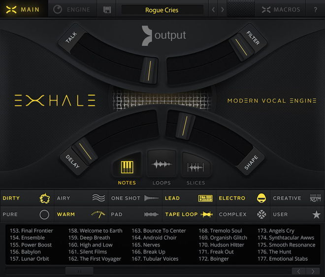 Output EXHALE User Interface