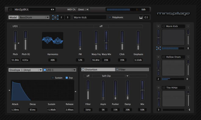 MiniSpillage Free Drum Mac Plugin