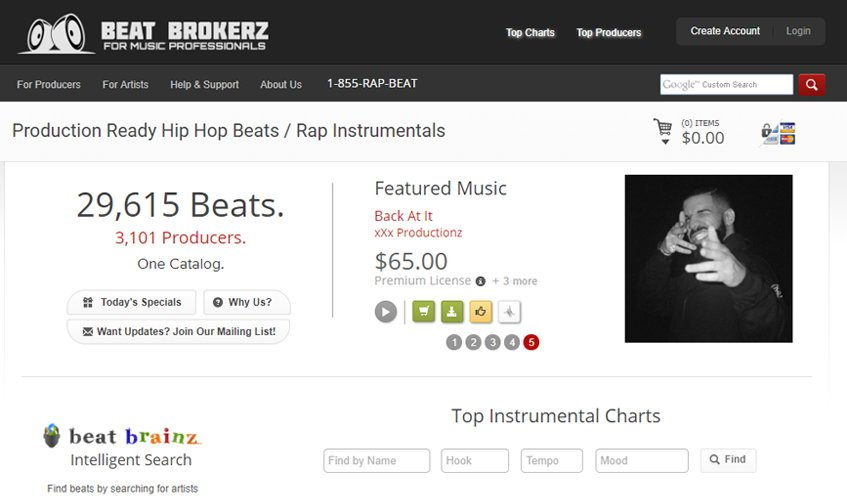 BeatBrokerz.com Selling Hip Hop Beats Website