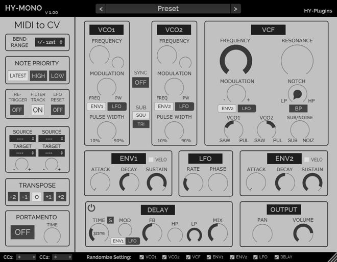 HY-Mono Free Synth Plugin