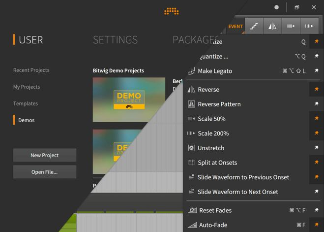 Bitwig Studio 2 Dashboard