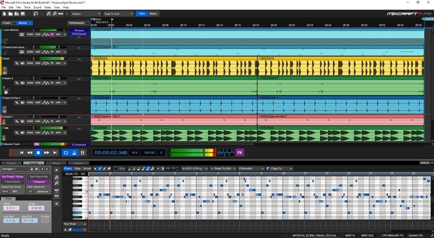 Mixcraft 9 GUI