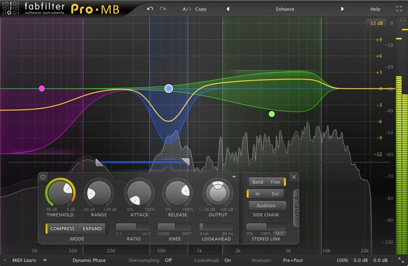 Fabfilter Pro-MB Multi-Band Compressor GUI
